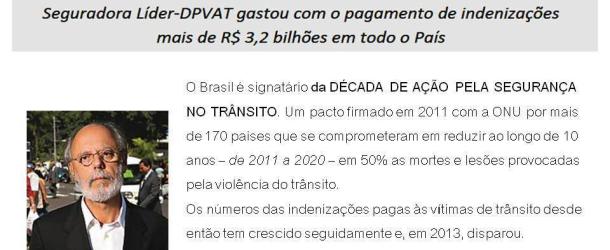 Indenizações pagas pelo DPVAT crescem 25% em 2013